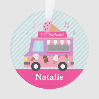 Sweet Purple Pink Ice Cream Truck Girls Room Ornament