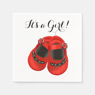 Sweet Red Baby Shoe Baby Shower Disposable Napkins