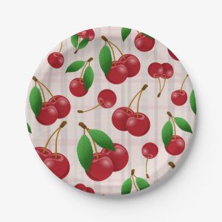 sweet red cherries on pastel plaid 7 inch paper plate