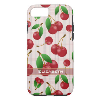 sweet red cherries on pastel plaid iPhone 7 case
