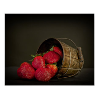 Sweet red strawberries poster