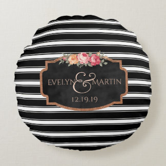 Sweet Romantic Floral Stripes Wedding Monogram Round Pillow