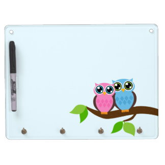 Sweet Romantic Owls Dry Erase Board With Keychain Holder