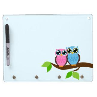 Sweet Romantic Owls Dry-Erase Whiteboard