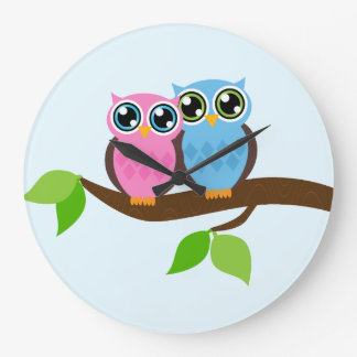 Sweet Romantic Owls Large Clock