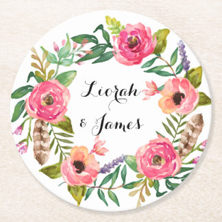 Sweet romantic watercolor flowers round paper coaster