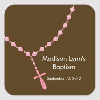Sweet Rosary Beads Baptism Favor Seal Pink Square Sticker