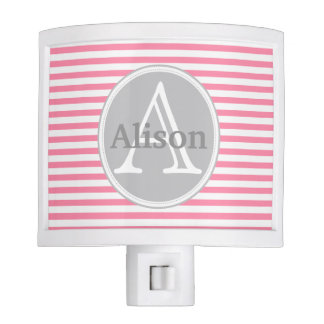 Sweet Rose Pink and White Stripes Monogram Night Light