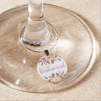 Sweet Rose Watercolor Floral Bridesmaid Wine Glass Wine Charms
