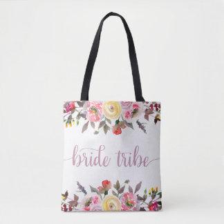 Sweet Rose Watercolor Floral Wedding Bride Tribe Tote Bag