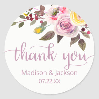 Sweet Rose Watercolor Floral Wedding Favor Classic Round Sticker