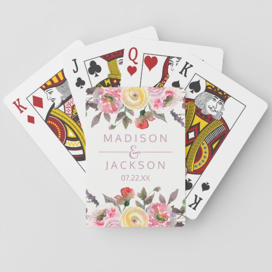 Sweet Rose Watercolor Floral Wedding Favour Poker Deck