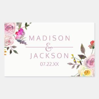 Sweet Rose Watercolor Floral Wedding Monogram Sticker