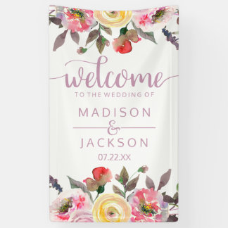 Sweet Rose Watercolor Floral Wedding Welcome Banner