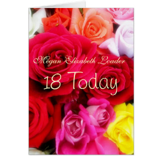 Sweet Roses 18th Birthday Photo Card