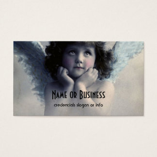 Sweet Rosy Cheeked Vintage Angel in Clouds Business Card