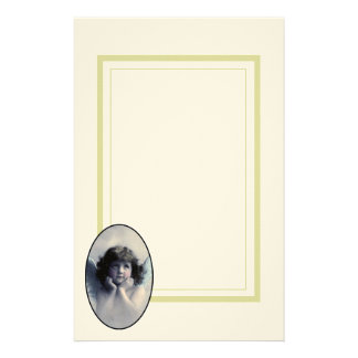 Sweet Rosy Cheeked Vintage Angel in Clouds Stationery