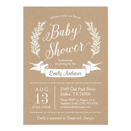 Sweet Rustic Baby Shower Invitation