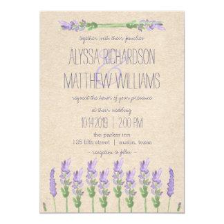 Sweet Rustic Purple Lavender on Kraft Look Wedding Card
