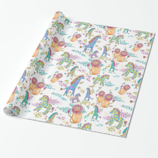 sweet safari baby jungle animal gift wrap
