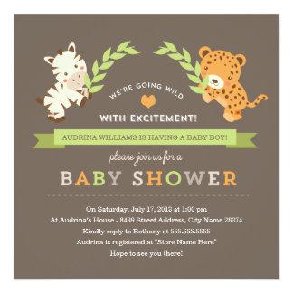 """Sweet Safari Baby Shower Invite 5.25"""" Square Invitation Card"""