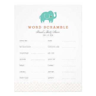 Sweet Safari Baby Word Scramble Game Custom Letterhead