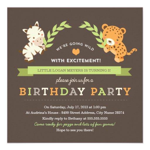 Sweet Safari Birthday Party Invitation