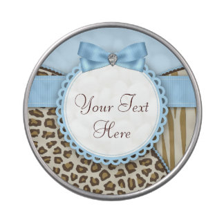 Sweet Safari Blue and Brown Baby Shower Candy Tins