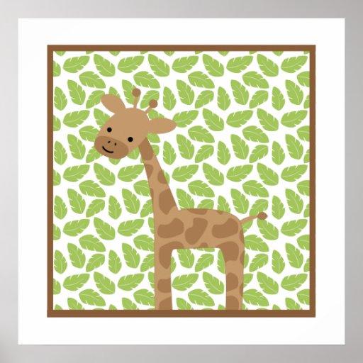 Sweet Safari Little Giraffe Nursery Wall Art Print