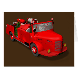 Sweet Santa Claus In Fire Engine Card