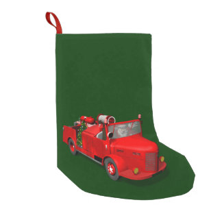 Sweet Santa Claus In Fire Engine Small Christmas Stocking