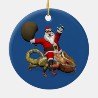Sweet Santa Claus On Huge Panther Chameleon Ceramic Ornament