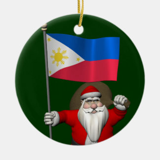 Sweet Santa Claus With Ensign Of The Philippines Ceramic Ornament