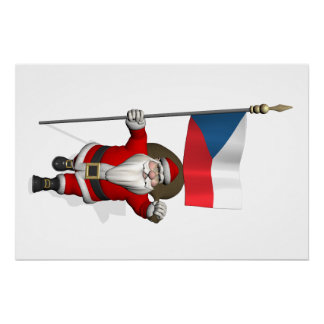 Sweet Santa Claus With Flag Of Czech Republic Perfect Poster