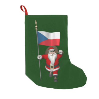 Sweet Santa Claus With Flag Of Czech Republic Small Christmas Stocking