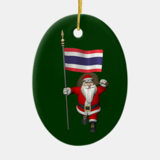 Sweet Santa Claus With Flag Of Thailand Ceramic Ornament