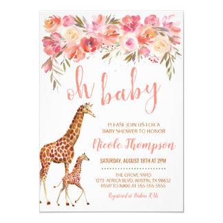 Sweet Savanna Baby Shower Invitation | Pink Floral