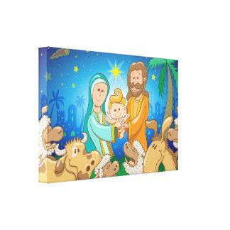 Sweet scene of the nativity of baby Jesus Canvas Print