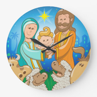 Sweet scene of the nativity of baby Jesus Large Clock