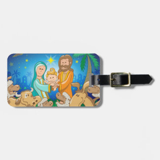Sweet scene of the nativity of baby Jesus Luggage Tag