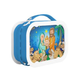Sweet scene of the nativity of baby Jesus Lunch Box