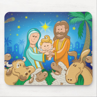 Sweet scene of the nativity of baby Jesus Mouse Pad