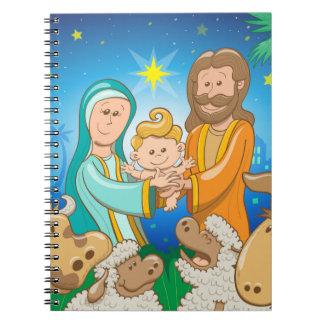 Sweet scene of the nativity of baby Jesus Notebook