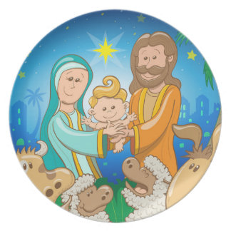 Sweet scene of the nativity of baby Jesus Plate