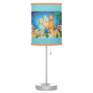 Sweet scene of the nativity of baby Jesus Table Lamp