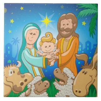 Sweet scene of the nativity of baby Jesus Tile
