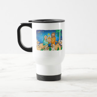 Sweet scene of the nativity of baby Jesus Travel Mug