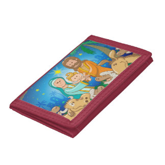 Sweet scene of the nativity of baby Jesus Trifold Wallet