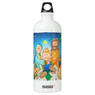 Sweet scene of the nativity of baby Jesus Water Bottle