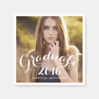 Sweet Script | 2016 Graduation Photo Paper Napkins